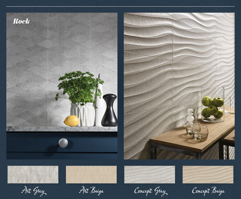 Collage picture of Rock 3D patterned kitchen tiles