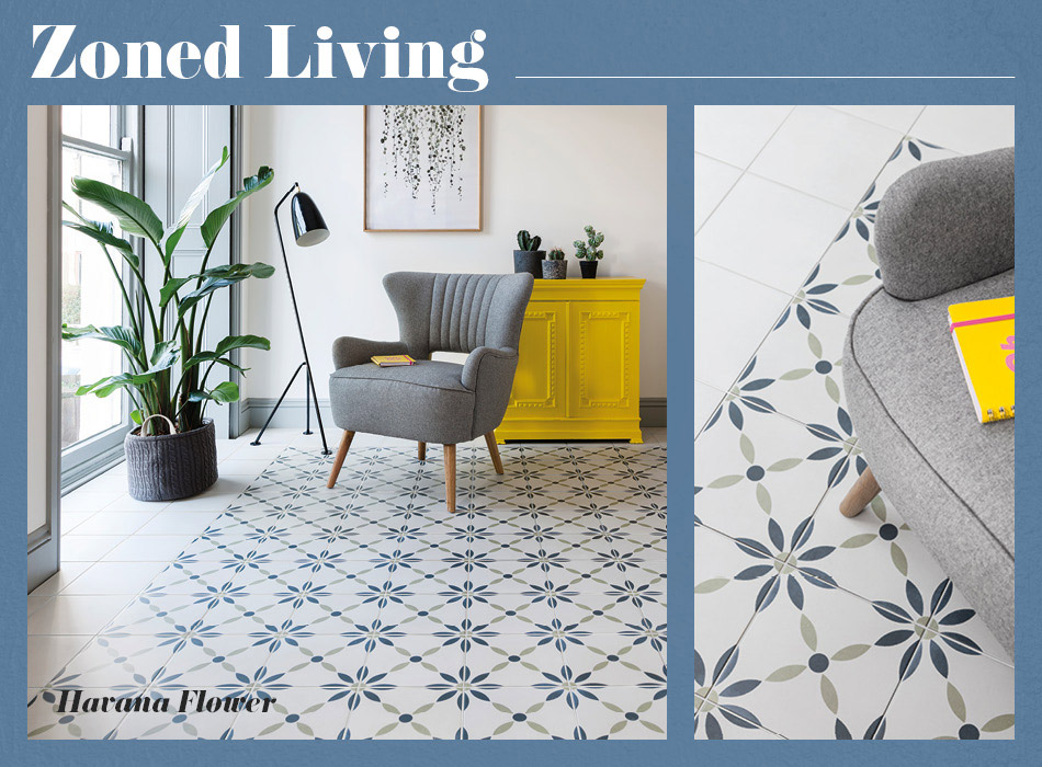 Collage picture of Havana patterned living area tiles