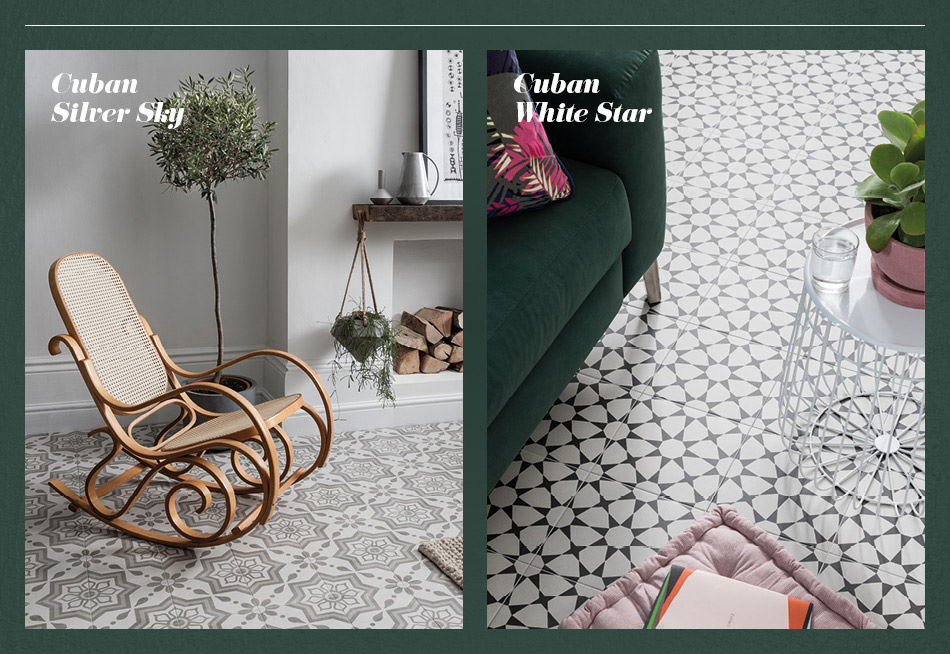 Collage picture of Cuban patterned living area tiles