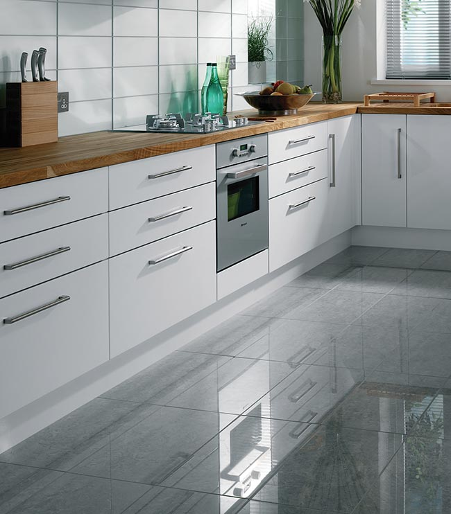 High Gloss Grey Kitchen Floor Tiles & Kitchen Floor Tile Options - A Guide to tiling your kitchen floor