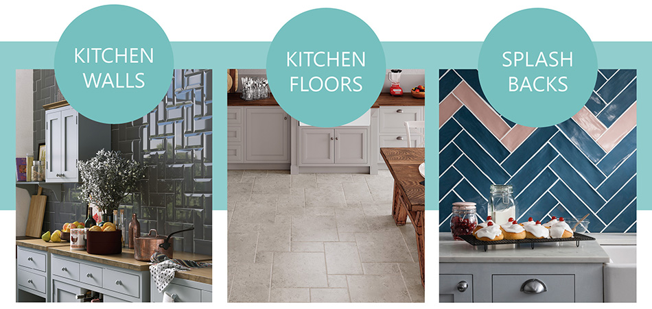 Metro Brick, Jura, and Poitiers Tiles used in kitchen settings.