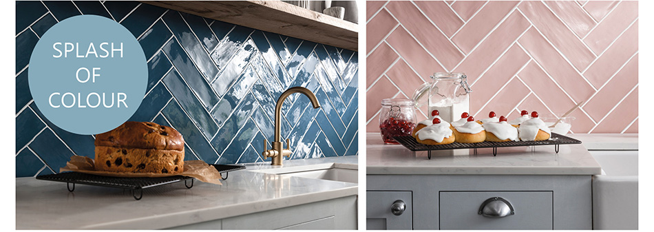 Blue and pink Poitiers tiles arranged in a herringbone pattern on kitchen walls.