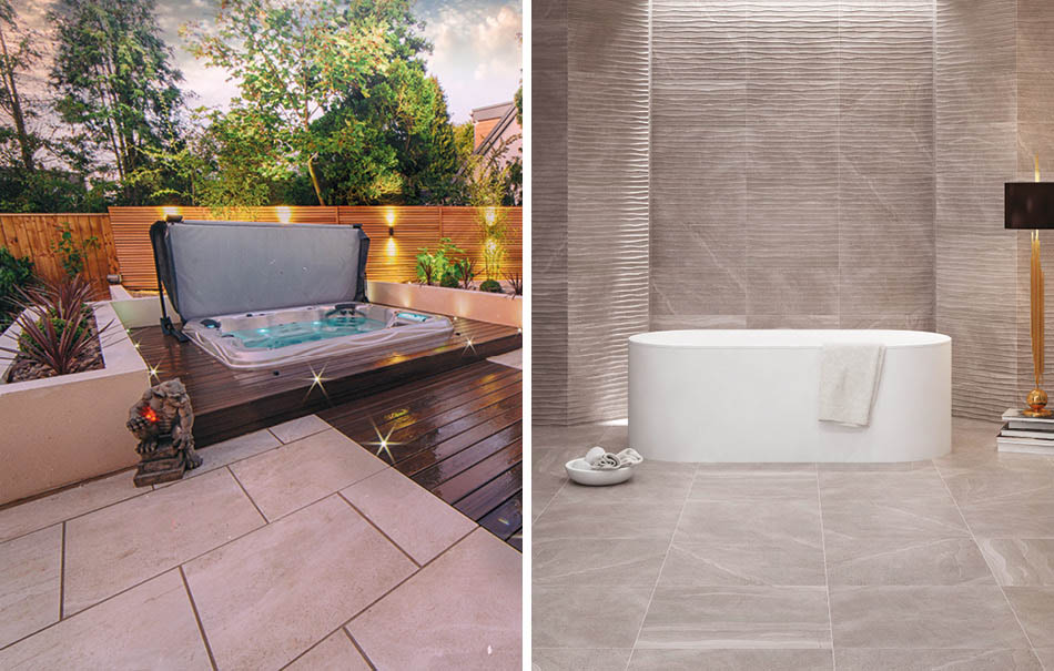 Collage of british Stone large format indoor and outdoor tiles