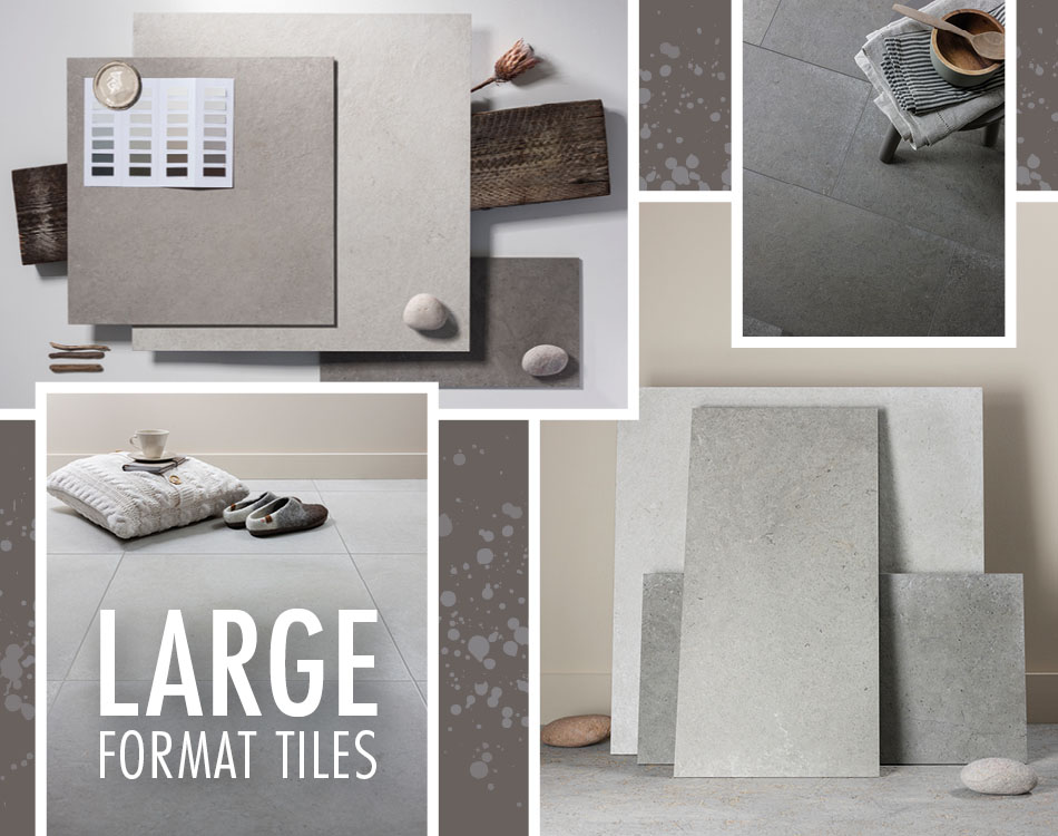 Collage of neutral coloured large format tile from Gemini