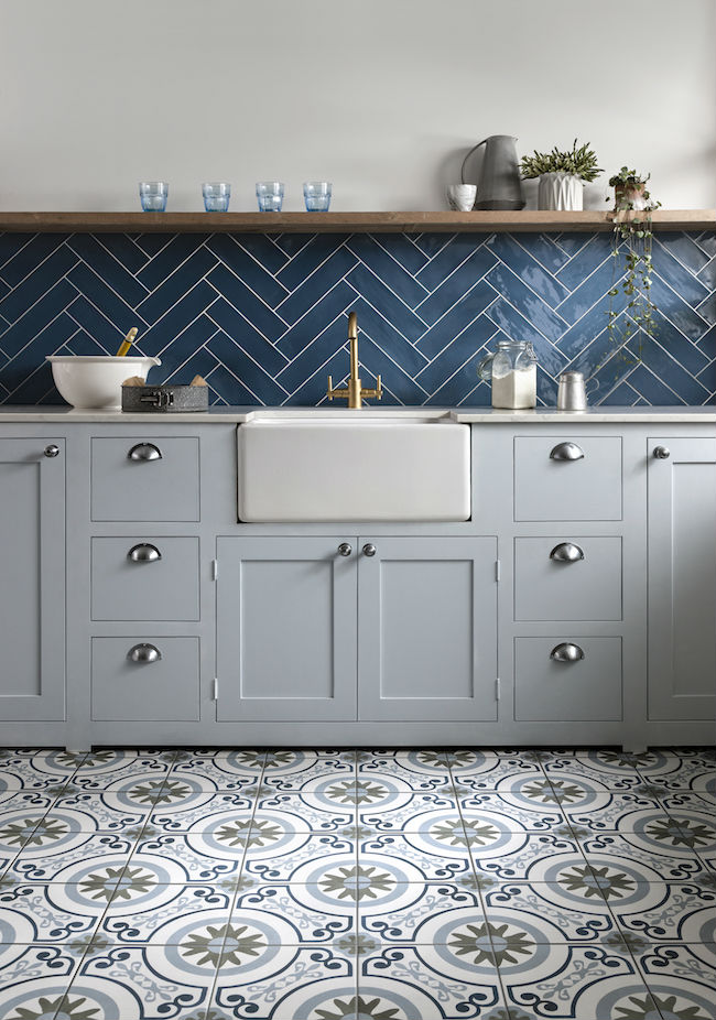 Blue Grey Kitchen Wall and Floor Tiles