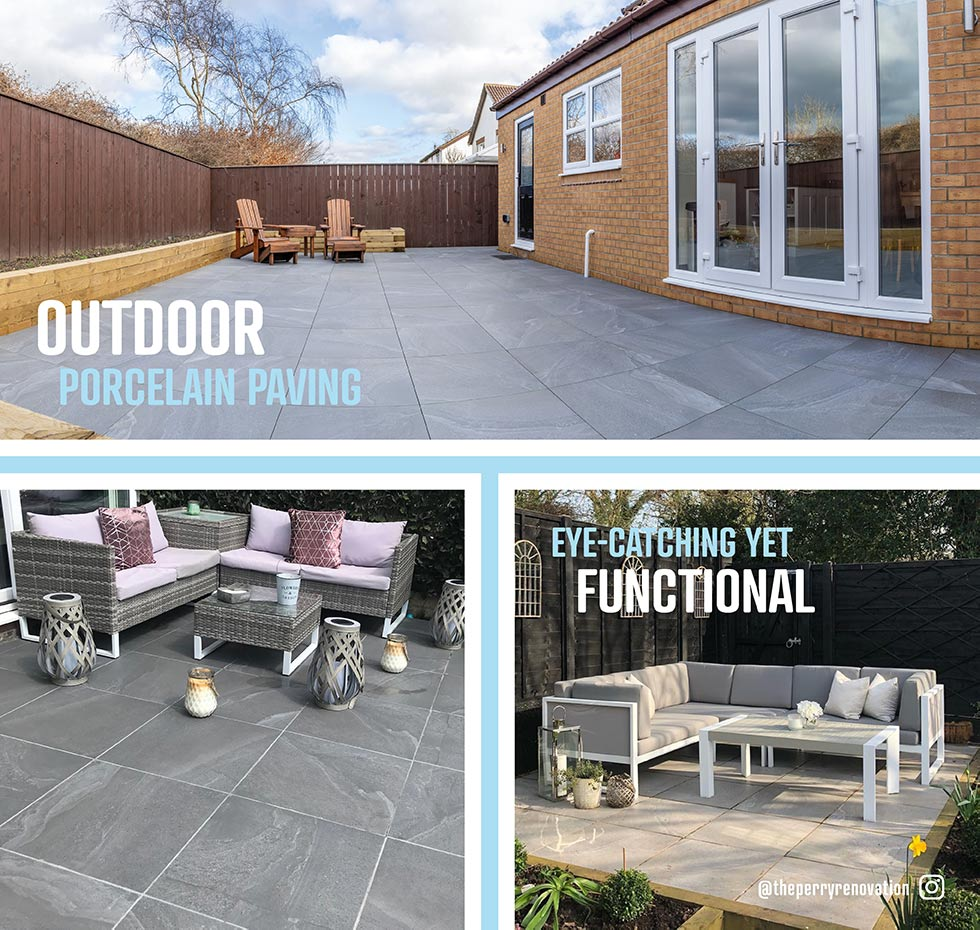 Collage image of British Stone 20mm outdoor porcelain tiles