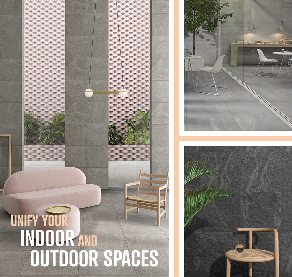 Collage image of Veined Stone and British Stone 20mm outdoor porcelain tiles