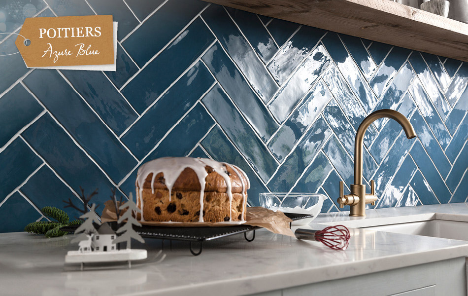 Picture of Poitiers Azure Blue kitchen wall tiles