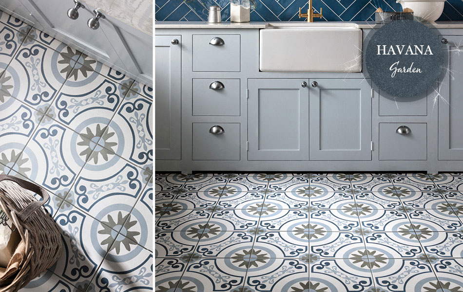 Collage picture of Havana Garden kitchen floor tiles
