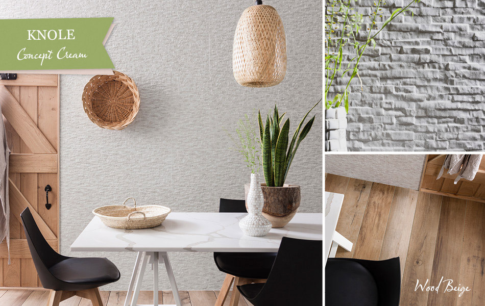 Collage picture of Knole Concept Cream and Wood Beige tiles