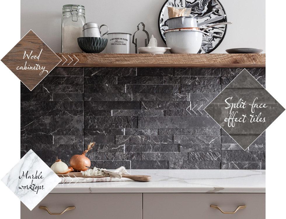 Slate effect split face Tiffany wall tiles in kitchen