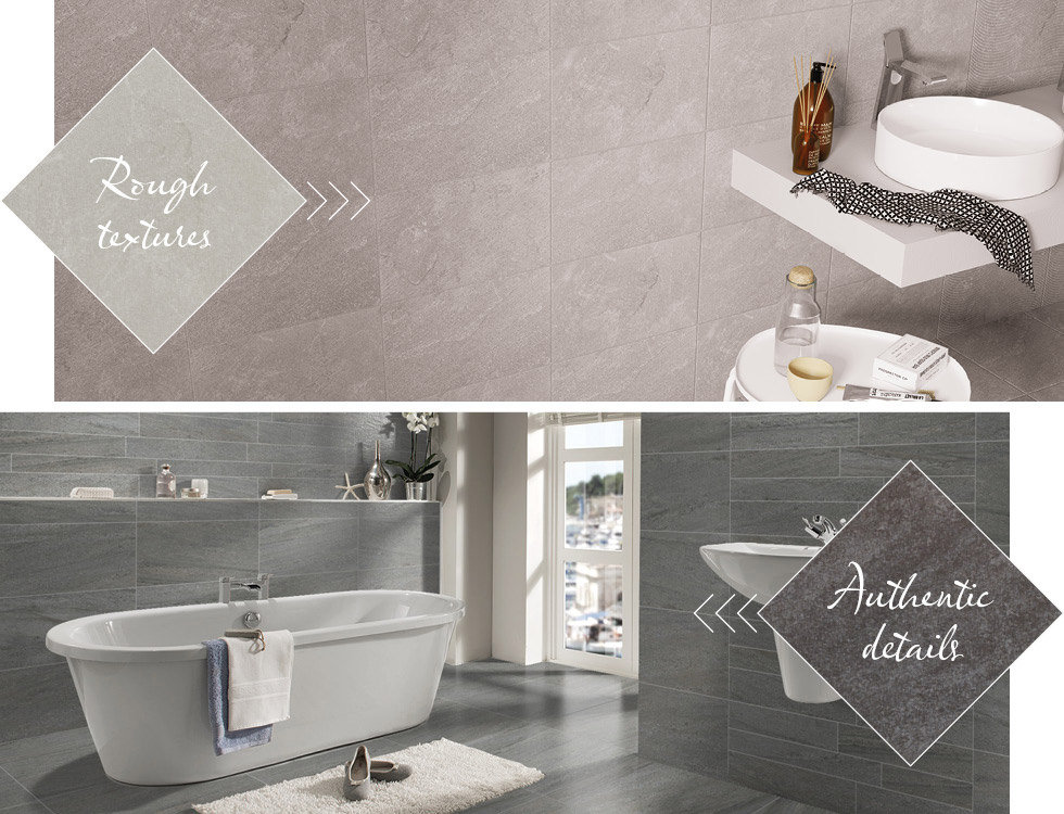 Quarz and Pietra Pienza slate effect and stone effect tiles in bathroom