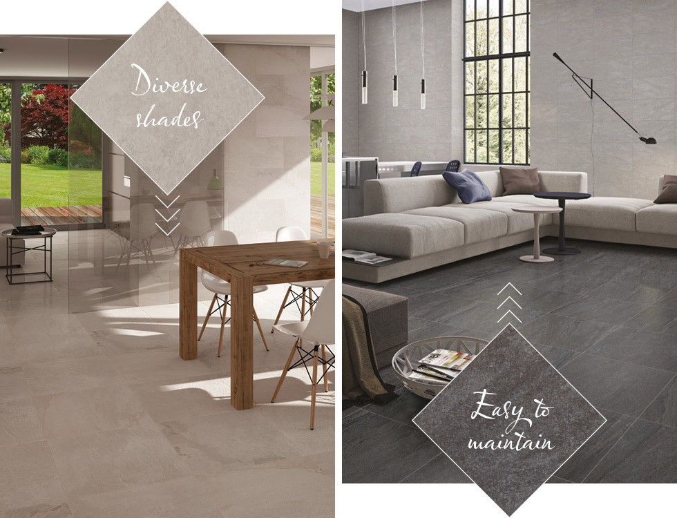 Rainforest and Pietra Pienza slate effect and stone effect tiles in living areas