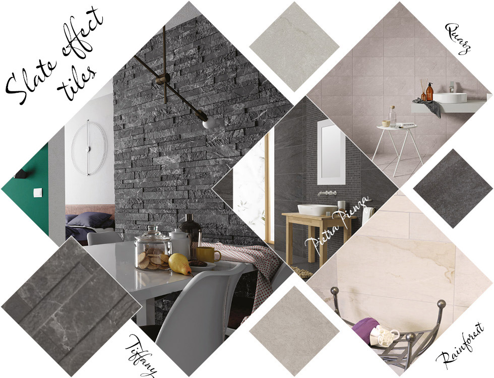 Collage of slate effect and stone effect tiles in kitchen, bathroom and living areas