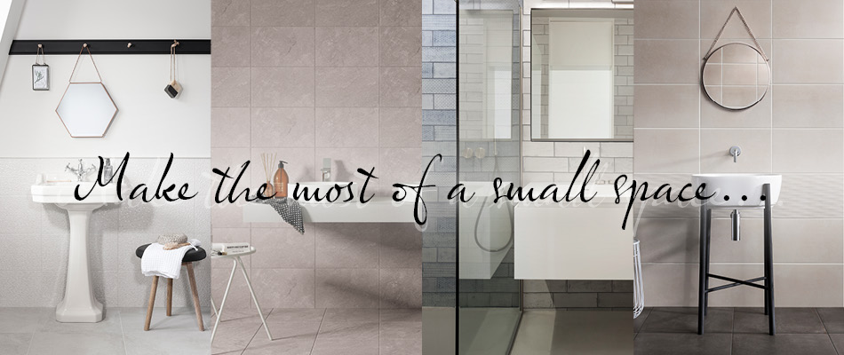 Collage of tile ideas for small bathrooms