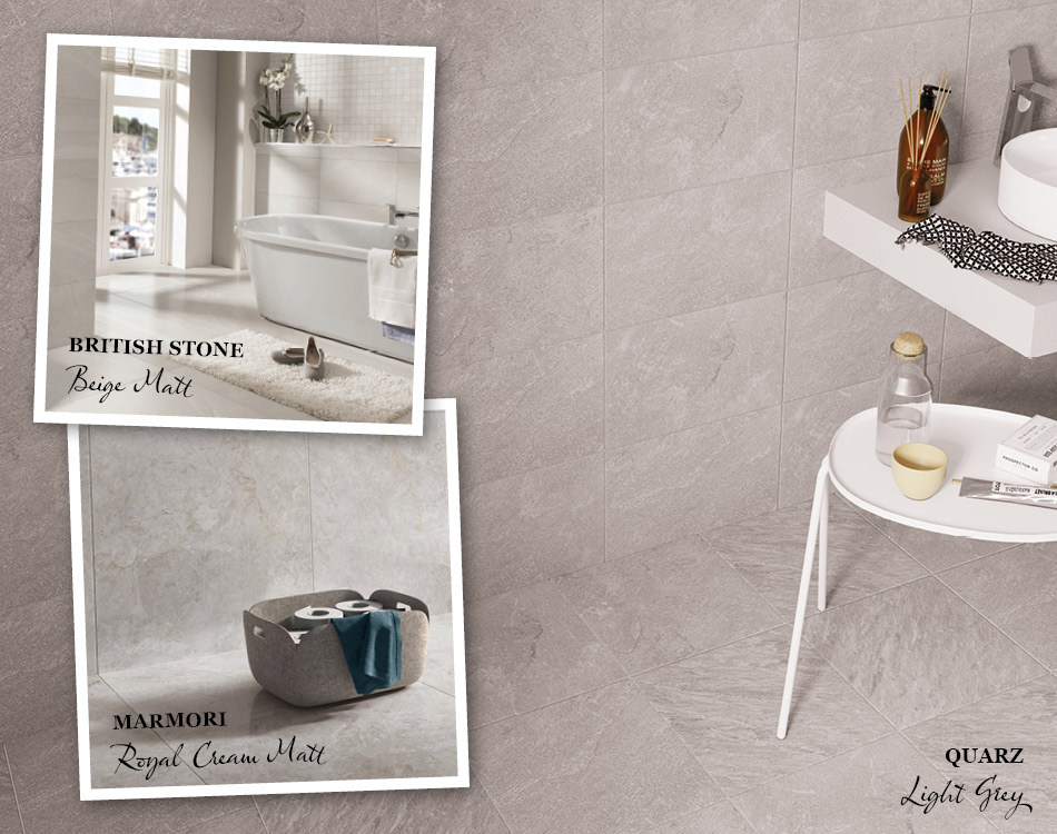 Collage of tile ideas for small bathrooms including British stone and marmori
