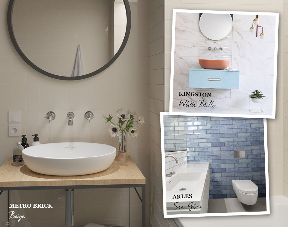 Collage of tile ideas for small bathrooms including Metro Brick, Kingston and Arles