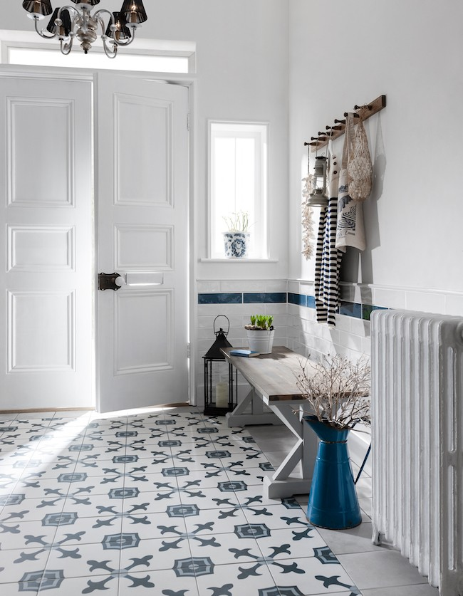 Blue and White square pattern hallway