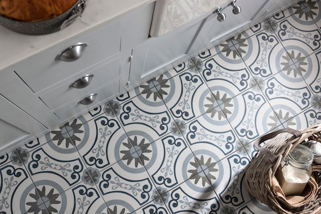 Patterned Tiles on Kitched Floor