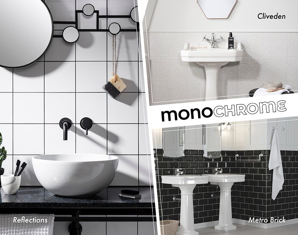 Photo collage of monochrome bathroom tiles including Reflections, Cliveden and Metro Brick