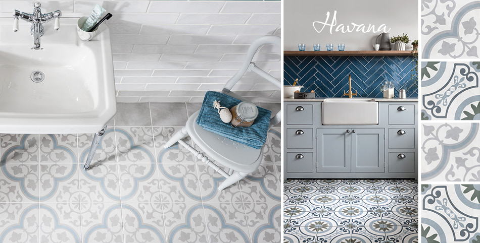 Havana patterned tile collection from Gemini in a kitchen setting