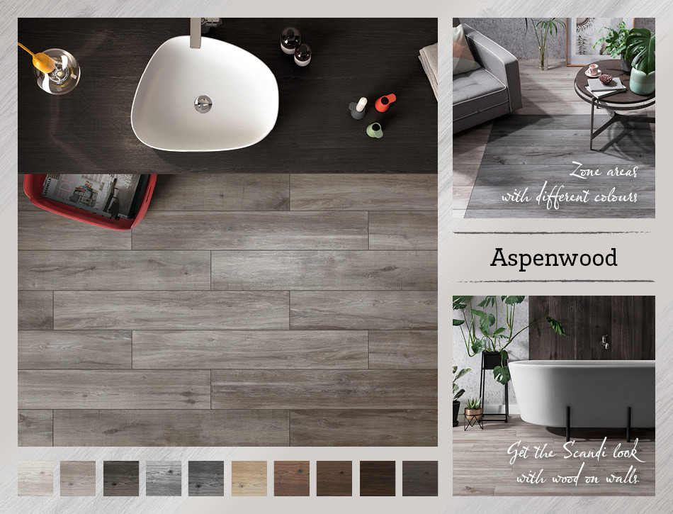 Collage picture of Aspenwood wood effect tiles
