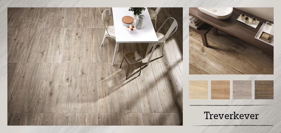 Collage picture of Treverkever wood effect tiles