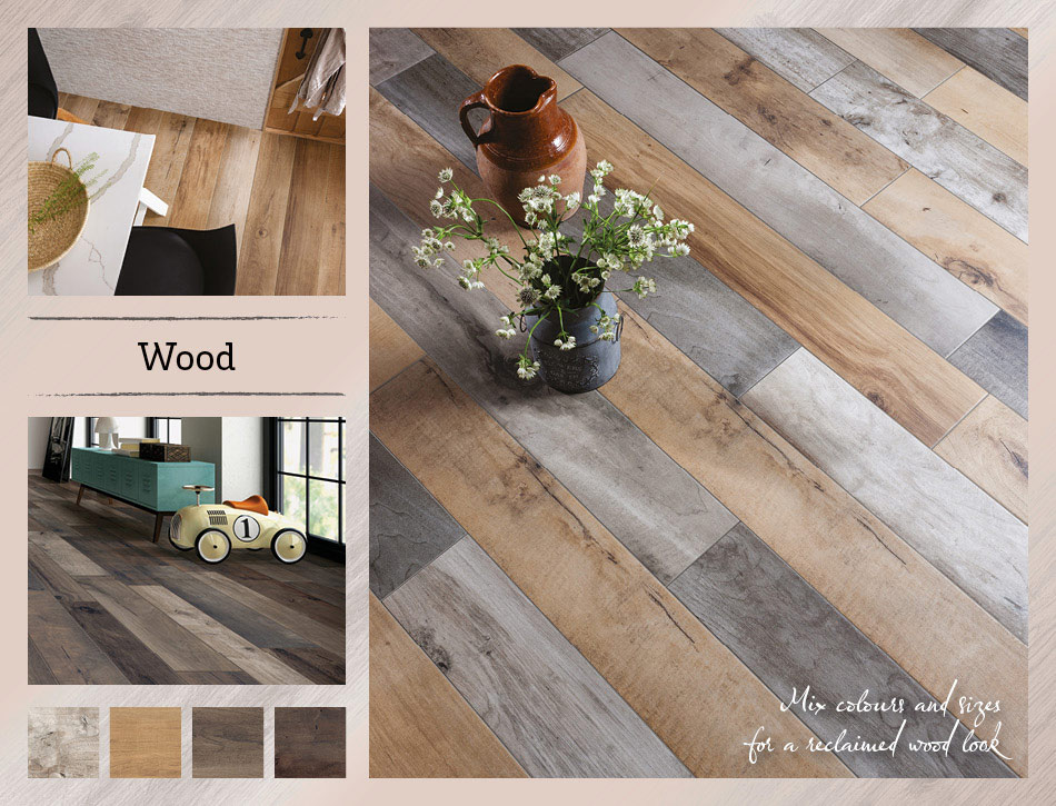 Collage picture of Wood wood effect tiles