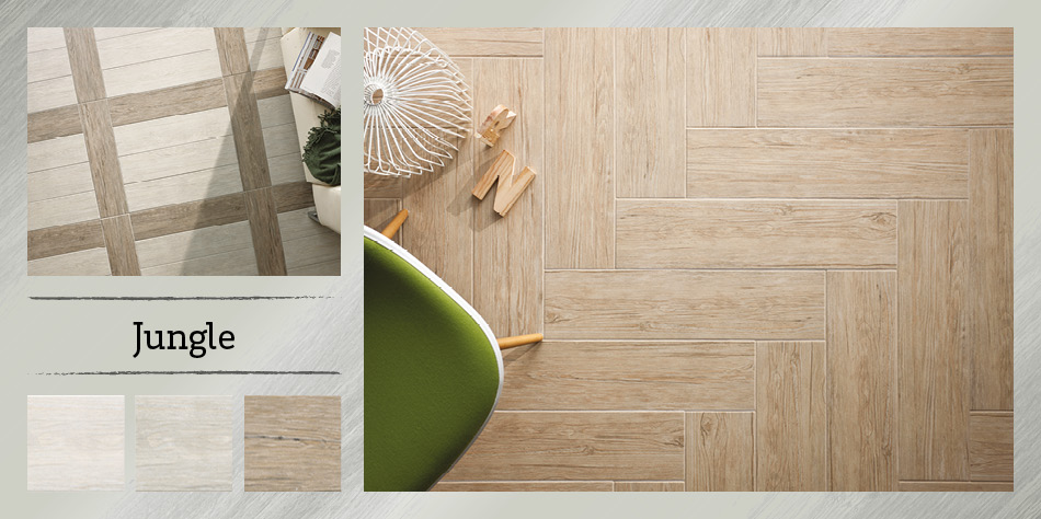 Collage picture of Jungle wood effect tiles