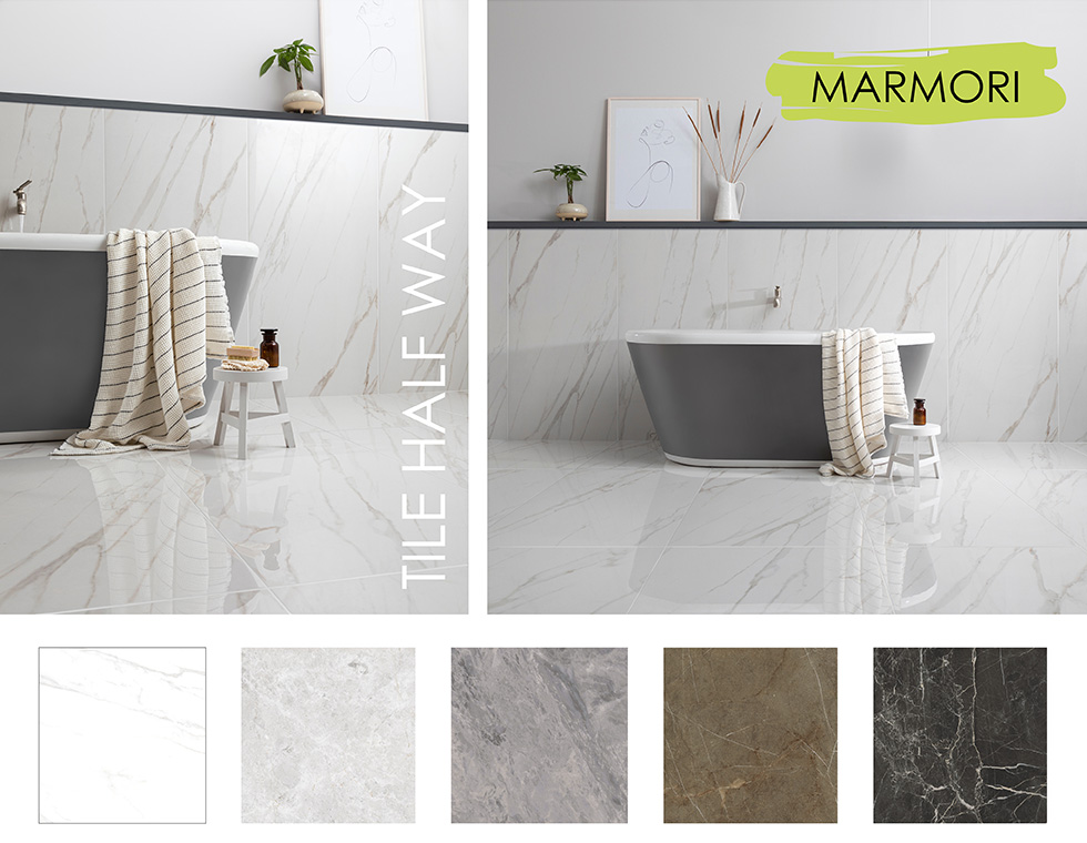 Collage of Marmori large format tiles in bathroom