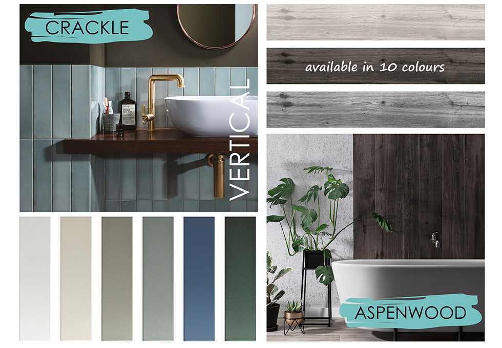 Collage of crackle and Aspenwood tiles in bathroom settings