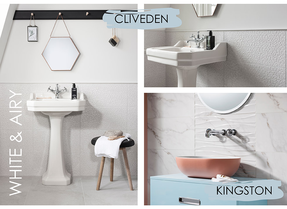 Collage of Cliveden and Kingston white bathroom tiles