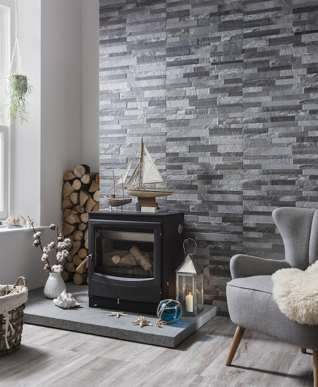 Tile On Living Room Wall: Read About Textured Stone Effect Wall Tiles