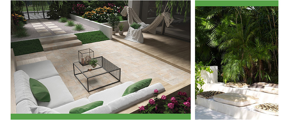 collage of outdoor spaces with seating and beige outdoor tiles.