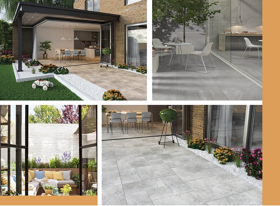 Collage of outdoor spaces with tiles extended out from indoors.