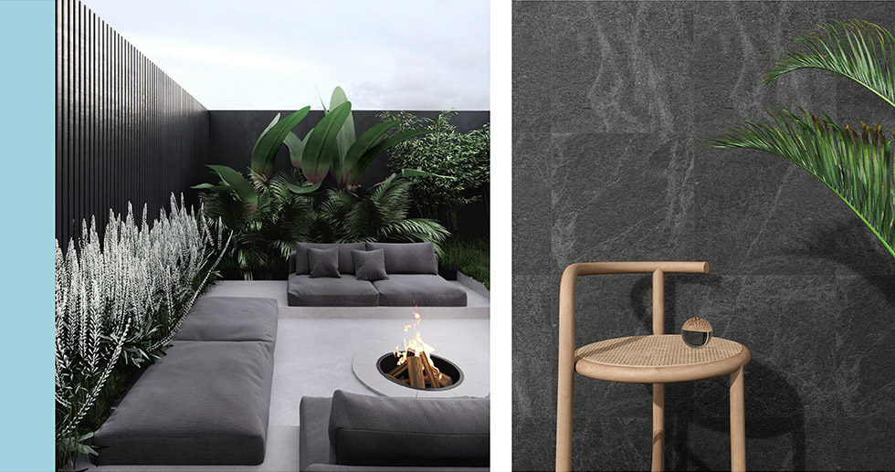 Collage of outdoor spaces using Veined Stone tiles