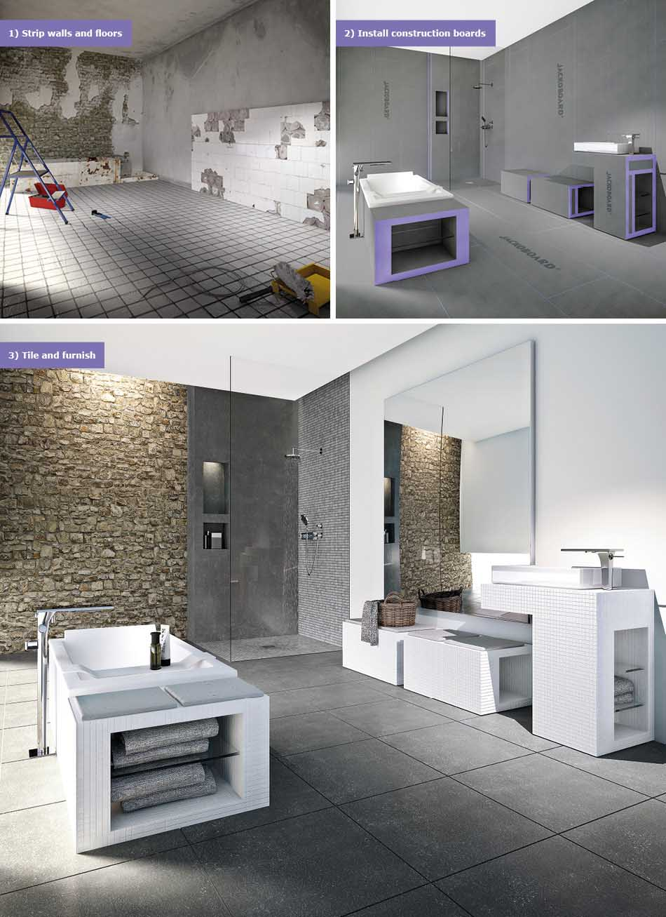 Collage picture of wet room before and after using Jackoboard