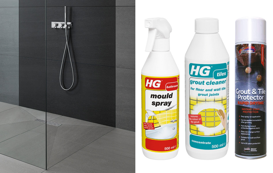 Collage picture of Kursaal wet room tiles and maintenance products