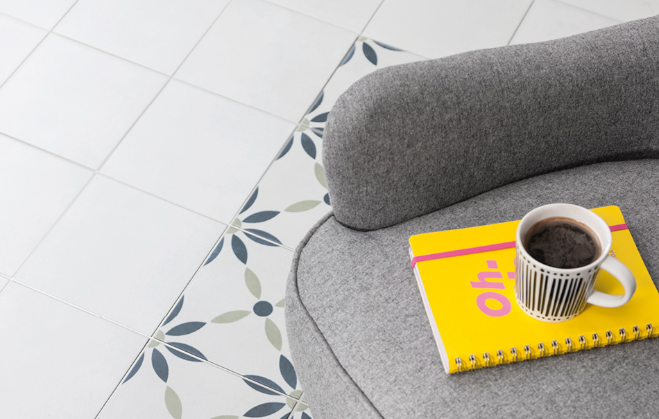 Bayamo white and Havana patterned tiles by Gemini