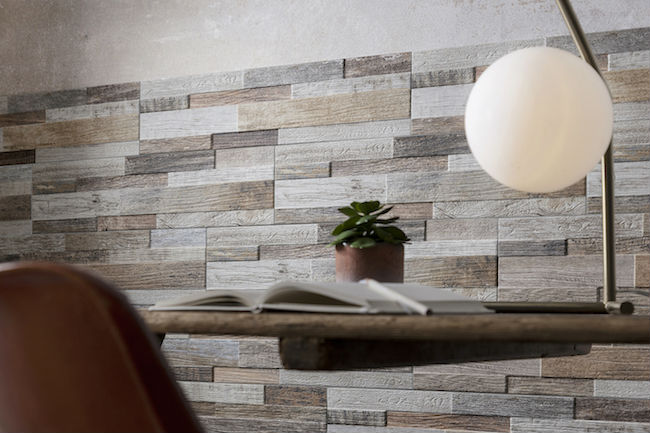 wood effect wall tiles - close up