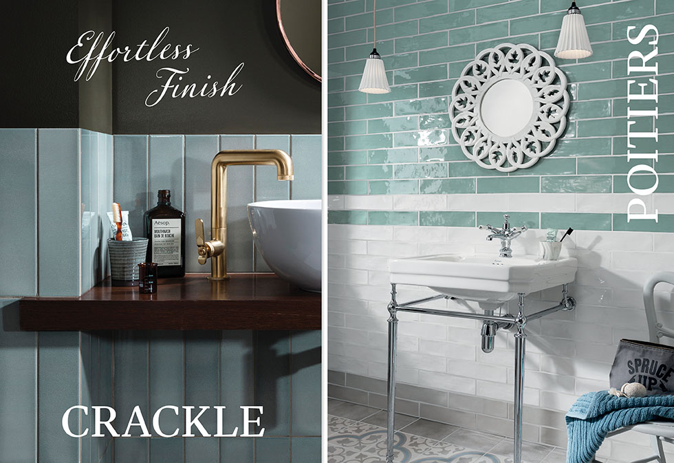 Crackle and Poitiers wall tiles