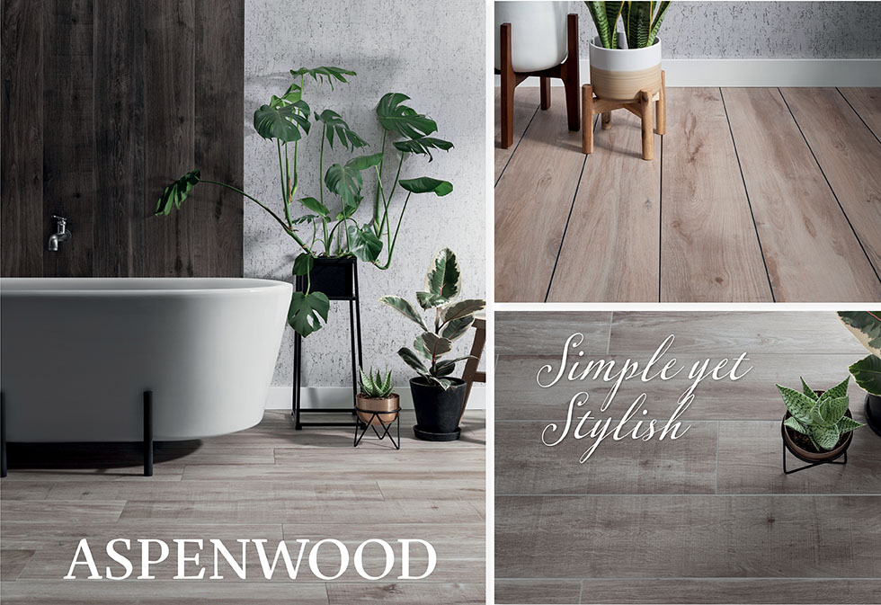 Wood effect Aspenwood wall and floor tiles