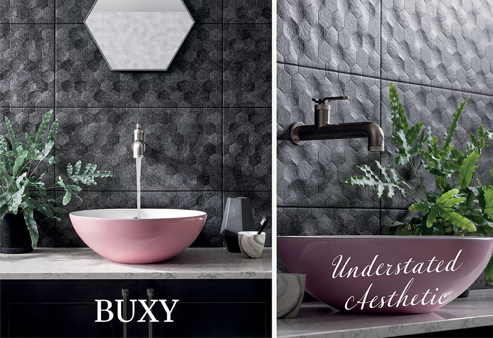 Buxy textured bathroom wall tiles