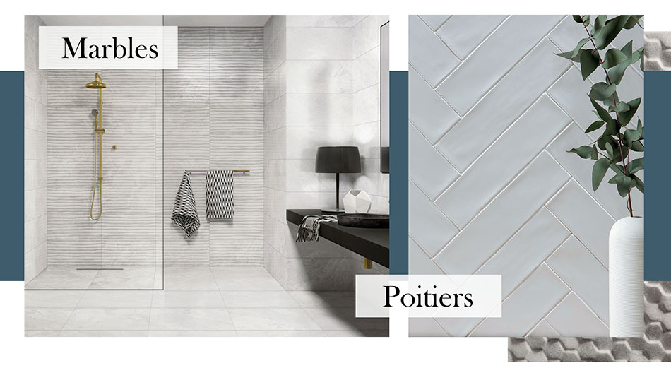 Setting image including Marbles and Poitiers wall tiles