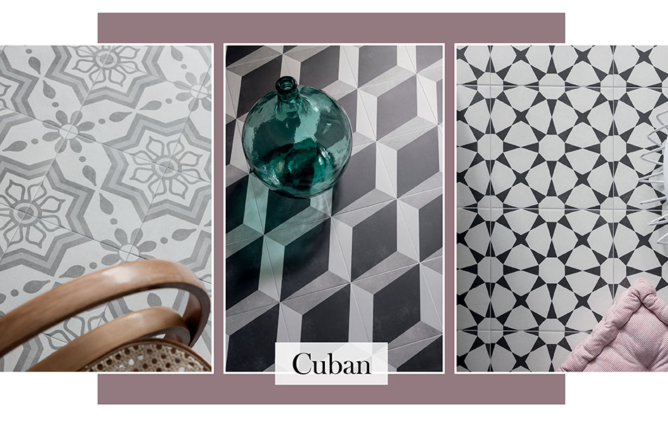 Patterned floor tiles by Cuban