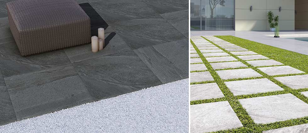 Black and Beige British Stone Outdoor Tiles