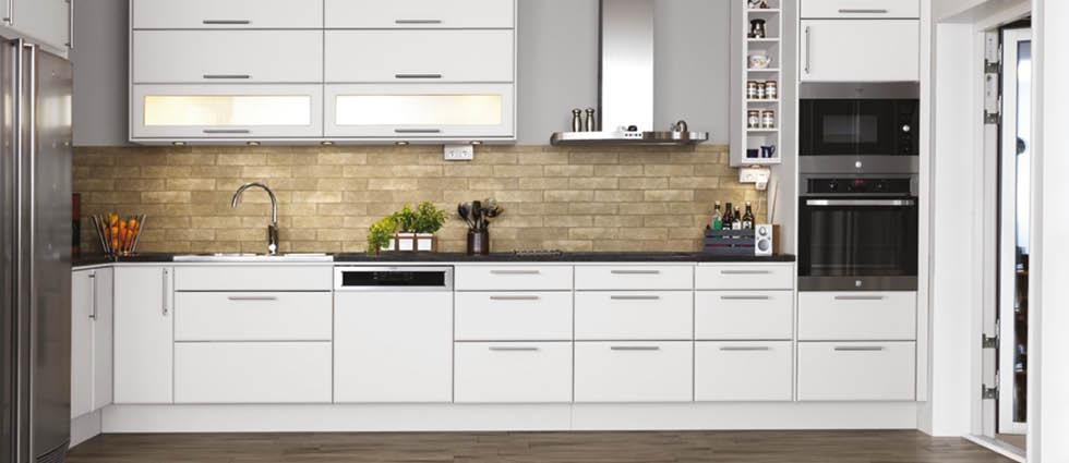 Ordinaire Fornace Brick Tiles Beige On Kitchen Splashback Wall