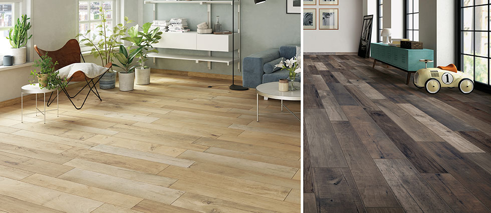 Rustic wood effect tiles in a living room setting.