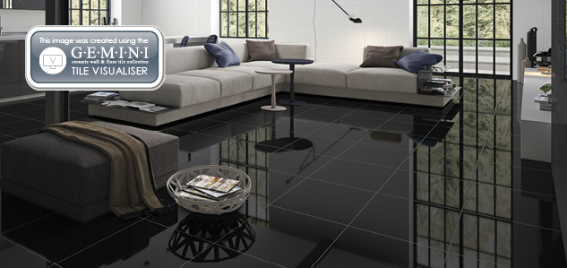 Super Polished Black and White floor tiles