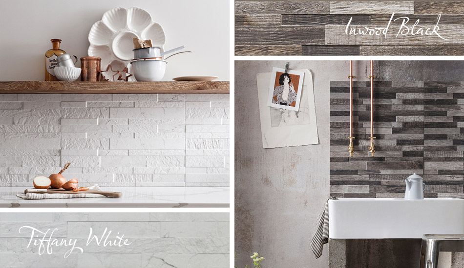 White and grey split face tiles by Gemini in kitchen settings.